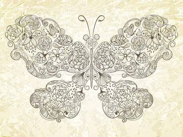 Vector  Butterfly Made of Flowers Stock photo © alexmakarova