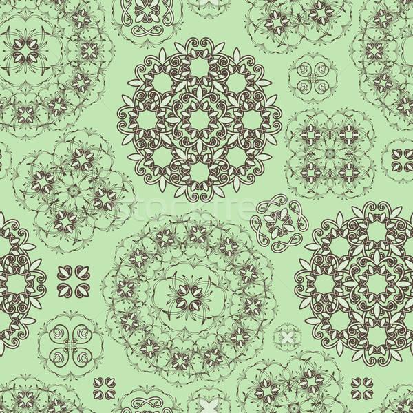 Vector naadloos patroon groene bruin Stockfoto © alexmakarova
