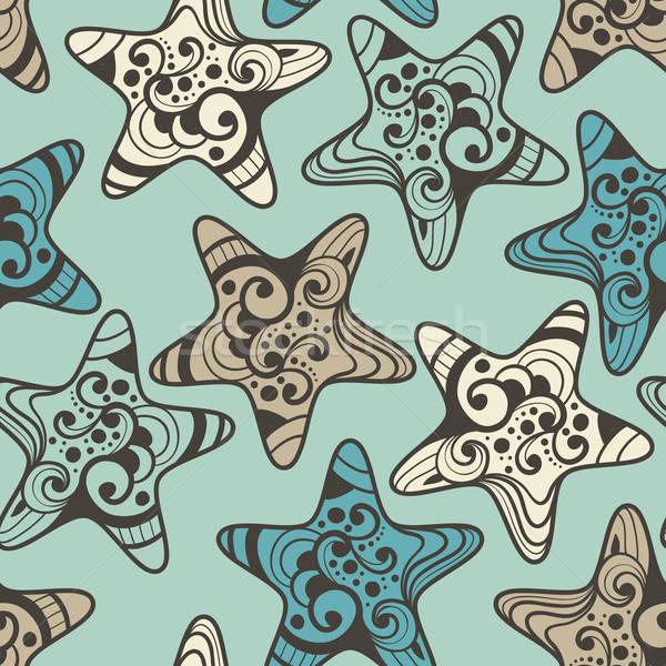 Vektor sehr detaillierte Sternen Muster Stock foto © alexmakarova