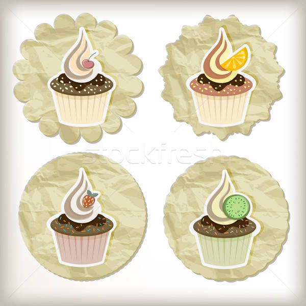 vector set of cupcakes on golden napkins Stock photo © alexmakarova