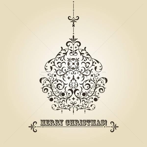 ストックフォト: ベクトル · ヴィンテージ · クリスマス · グリーティングカード · ボール