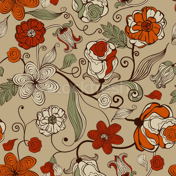 Stock photo: Vector Seamless Pattern with Abstract Flowers