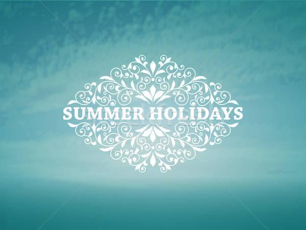Vector zomer blauwe hemel zee vintage frame Stockfoto © alexmakarova