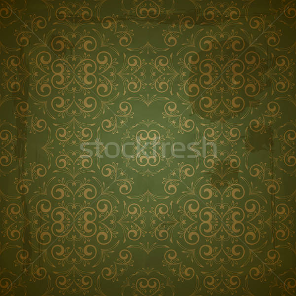 vector seamless golden pattern on green grungy background with c Stock photo © alexmakarova