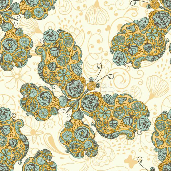 Stockfoto: Vector · naadloos · voorjaar · patroon · vlinders · bloemen