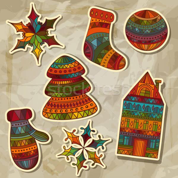 Foto stock: Vector · Navidad · pegatinas · diseno · elementos · calcetines