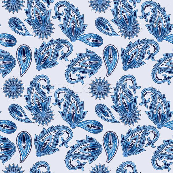 Vector Seamless Paisley Pattern in blue Stock photo © alexmakarova