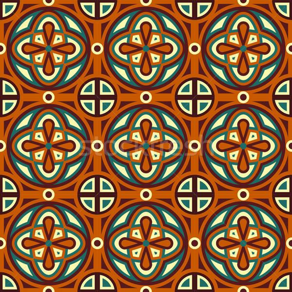 Vettore senza soluzione di continuità disegno geometrico foglia bellezza Foto d'archivio © alexmakarova