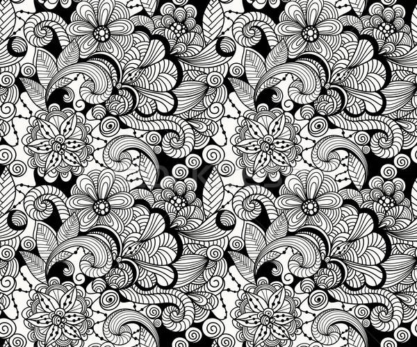 Vector Seamless Doodle Floral Pattern Stock photo © alexmakarova