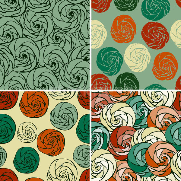 4 Vector Seamless Patterns with Funky Abstract Roses Stock photo © alexmakarova