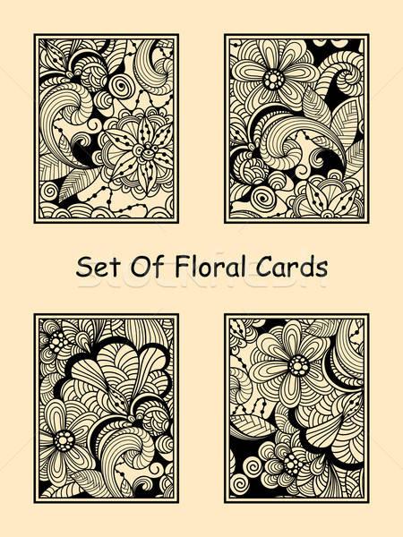 Vector Seamless Doodle Floral Cards Stock photo © alexmakarova