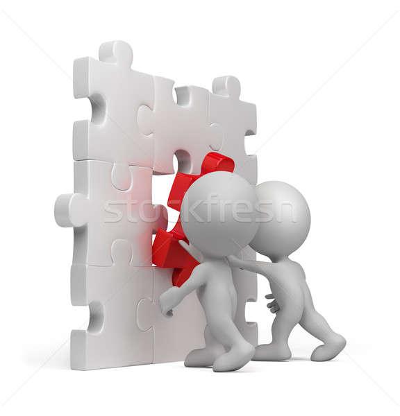 Photo stock: Personne · 3d · puzzle · dernier · 3D · image · isolé