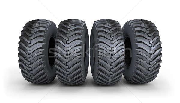 Grande preto pneu quatro pneus poderoso Foto stock © AlexMas