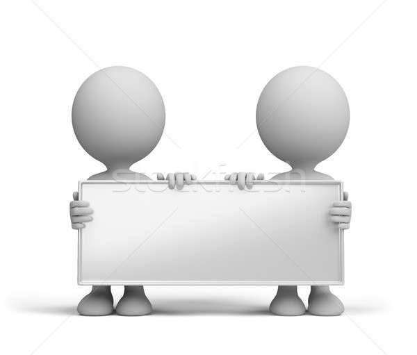 Zwei Personen Billboard halten Hände 3D Bild Stock foto © AlexMas