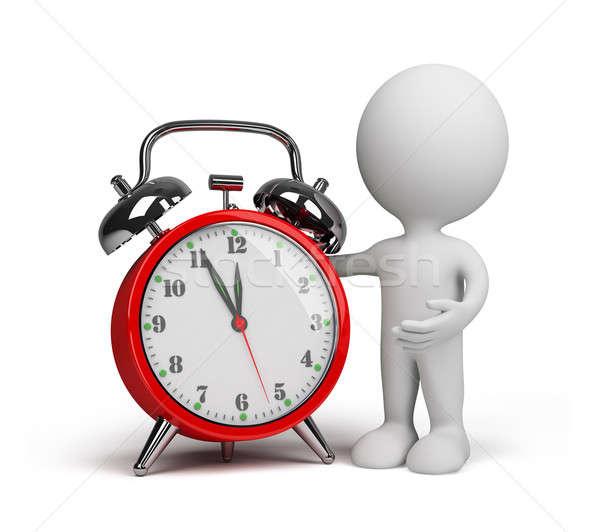 3 ª persona despertador rojo 3D imagen blanco Foto stock © AlexMas