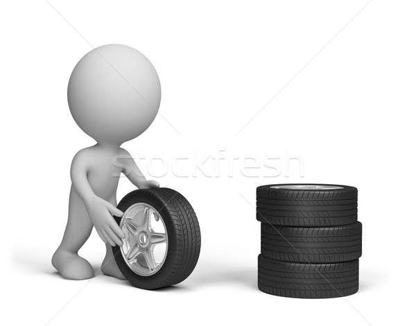 Adam tekerlekler tekerlek araba Stok fotoğraf © AlexMas