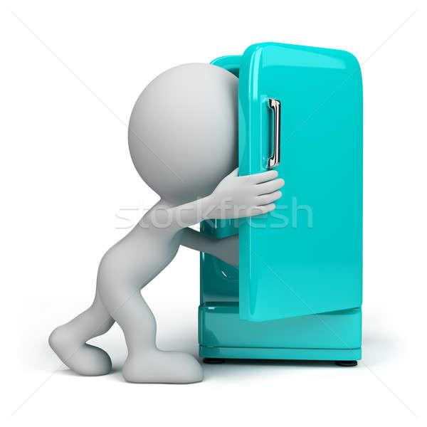 3 ª persona refrigerador mirando dentro vintage nevera Foto stock © AlexMas