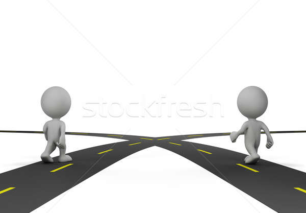 Kereszteződés kettő utak két személy útkereszteződés 3D Stock fotó © AlexMas