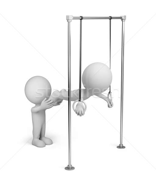 3d person on gymnastic rings Stock photo © AlexMas