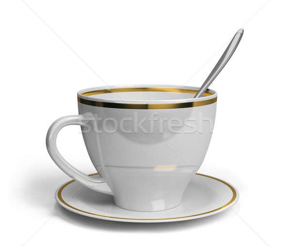 カップ ソーサー スプーン 茶 3D 画像 ストックフォト © AlexMas