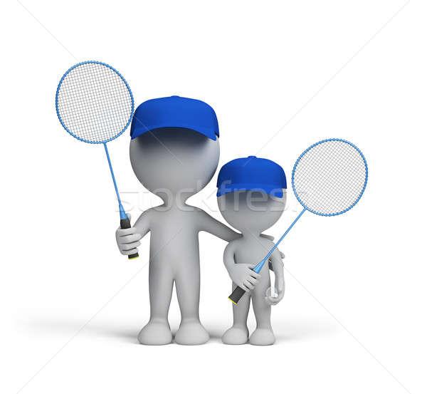 Spor aile baba oğul badminton eller Stok fotoğraf © AlexMas