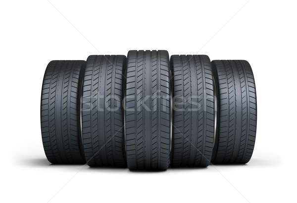 Automotive pneumatici gruppo 3D immagine bianco Foto d'archivio © AlexMas