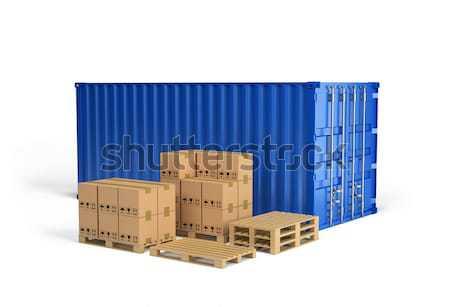Taşımacılık kutuları ahşap nakliye konteyner 3D Stok fotoğraf © AlexMas