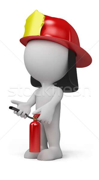 3 ª persona bombero extintor de incendios casco 3D imagen Foto stock © AlexMas