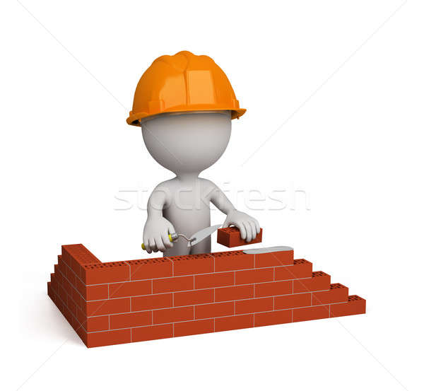 3 ª persona constructor casa 3D imagen aislado Foto stock © AlexMas