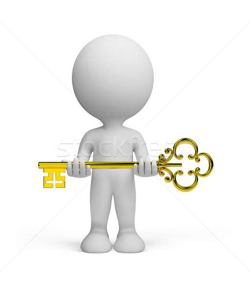 Foto stock: Pessoa · 3d · chave · ouro · imagem · isolado · branco