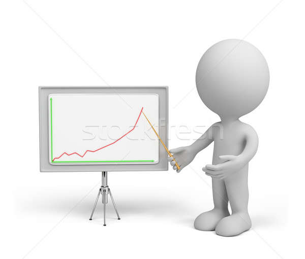 3d person - business graph  Stock photo © AlexMas