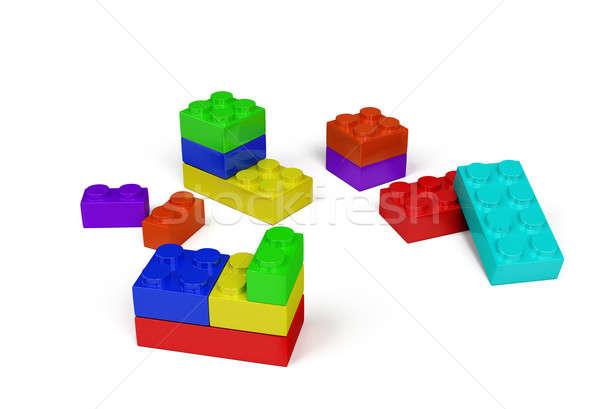 3D műanyag építőkockák színes kép izolált Stock fotó © AlexMas
