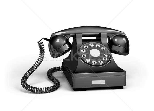 Telefon fekete fényes telefon 3D kép Stock fotó © AlexMas