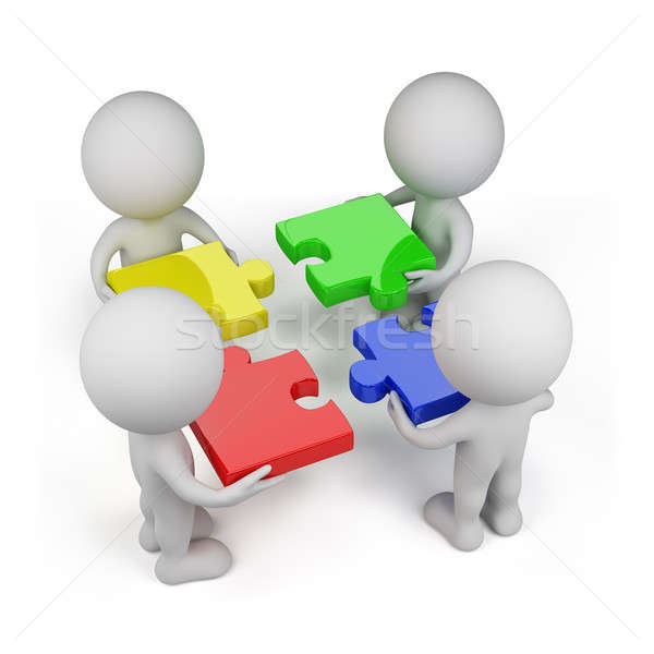 3d person - teamwork with puzzles Stock photo © AlexMas