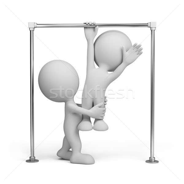 Stock photo: 3D person on a horizontal bar