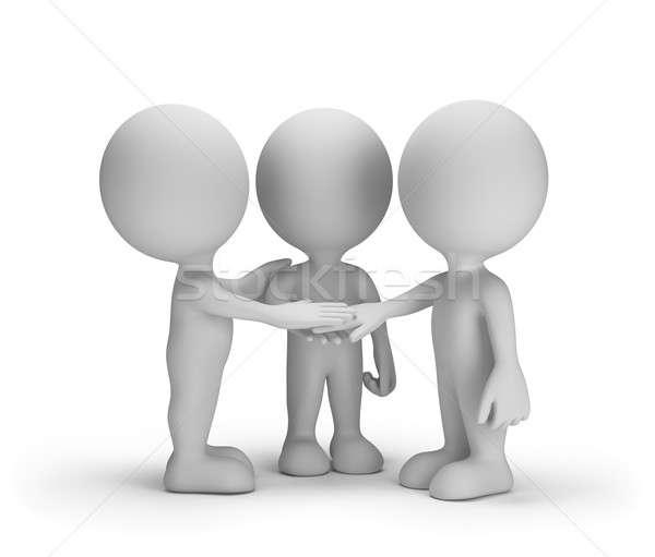 Fiel amigos tres 3D imagen blanco Foto stock © AlexMas