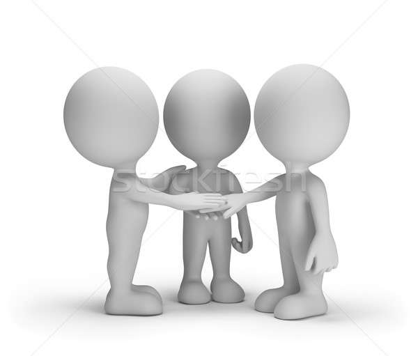 Trouw vrienden drie 3D afbeelding witte Stockfoto © AlexMas