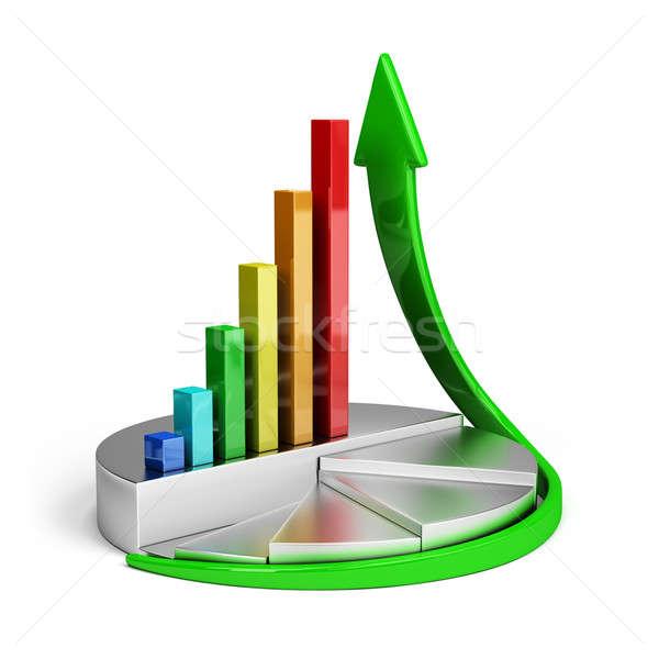 Büyüme eğilim diyagram finansal 3D görüntü Stok fotoğraf © AlexMas