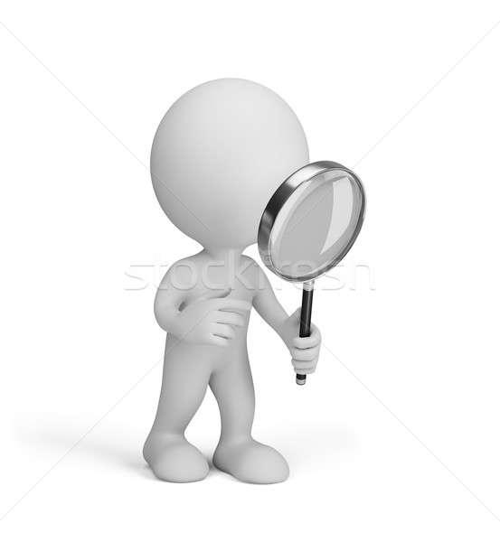 Foto stock: Hombre · 3d · lupa · 3D · imagen · blanco · ciencia