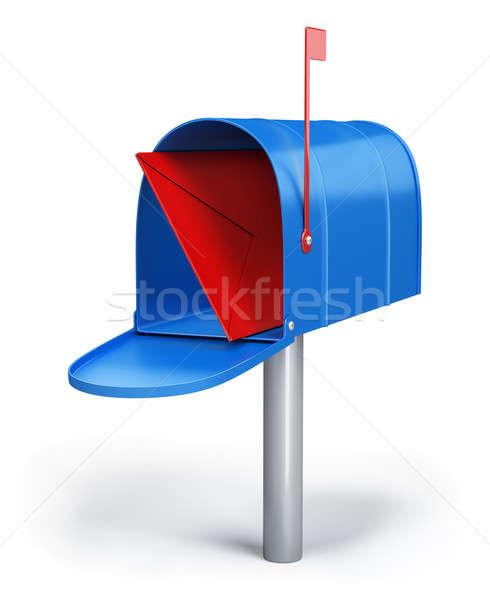 Caixa de correio azul carta 3D imagem branco Foto stock © AlexMas