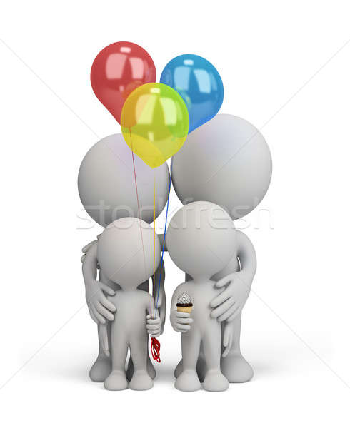 Stock photo: 3d person - happy family