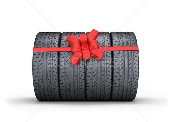 Auto pneumatici regalo rosso arco 3D Foto d'archivio © AlexMas