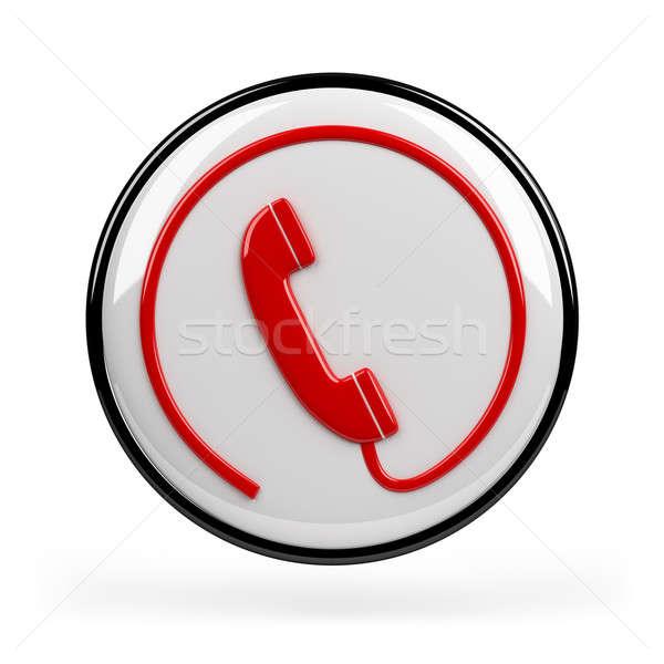 Telefon felirat piros ikon 3D kép Stock fotó © AlexMas