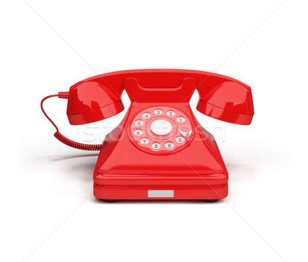 Telefon kırmızı telefon 3D görüntü beyaz Stok fotoğraf © AlexMas