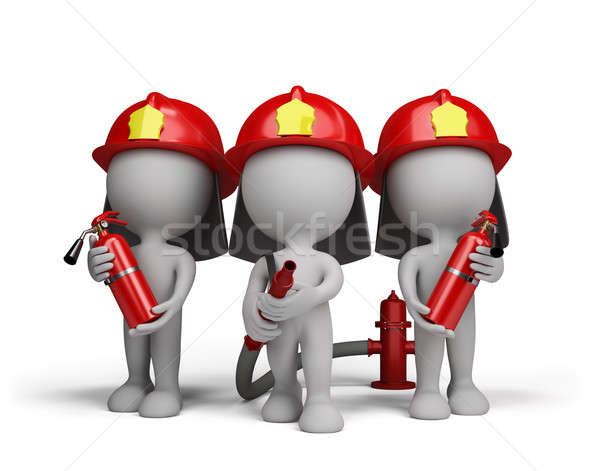 Stock photo: Three firefighter with the fire extinguishers