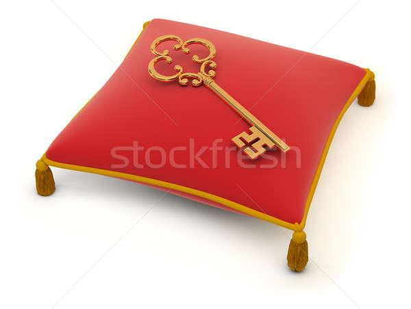 Chave travesseiro vermelho veludo 3D imagem Foto stock © AlexMas