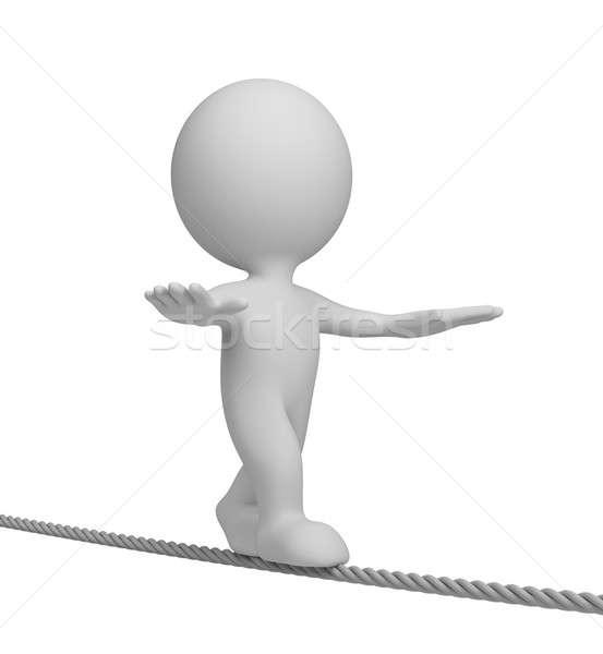 3d человек туго натянутый канат ходьбе 3D изображение белый Сток-фото © AlexMas