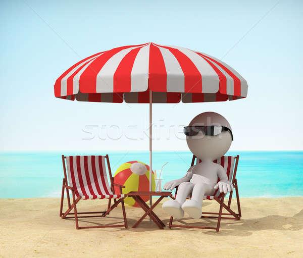 Relaxar praia homem espreguiçadeira 3D Foto stock © AlexMas