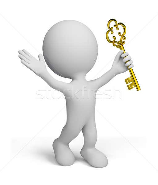 Сток-фото: 3d · человек · успех · 3d · человек · золото · ключевые · 3D