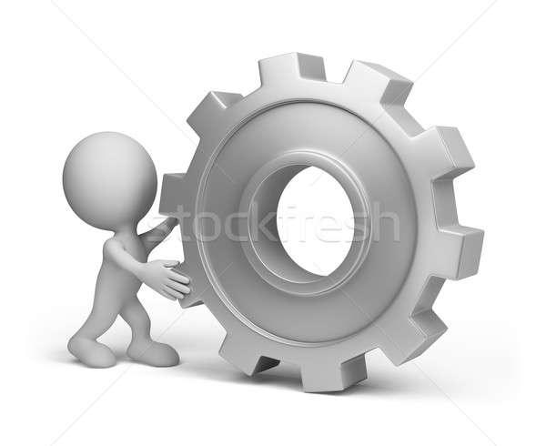 3d person with a gear wheel Stock photo © AlexMas